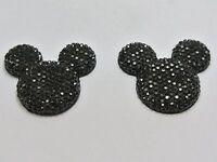 20 Black Acrylic Flatback Rhinestone Mouse Gems 30mm Flat Back Resin