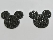 20 Black Acrylic Flatback Rhinestone Mouse Gems 30mm Flat Back Resin
