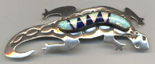 Signed Tooled Sterling Silver Geico Pin with Azurite and Lab Opal Inlay