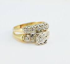 Art Deco .45 ct Diamond 14k Yellow Gold Wedding Band Engagement Ring Set Sz 6.75