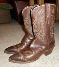 1883 LUCCHESE women's brown lizard tip calf leather cowgirl boots 9 B N7302 EUC