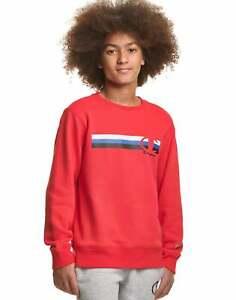 Champion Boy Sweatshirt Fleece Crewneck Kids Multi Stripe C Logo Athletics Youth