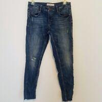 Zara Women's Distressed Denim Jeans with Rhinestone Studs Size 6