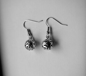 Filigree Ball Earrings,Flower,Tibetan Silver Charm,Stainless Steel Hooks,Style 2