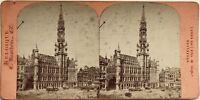 Hotel de ville di Bruxelles Belgium Fotografia Stereo Vintage Albumina