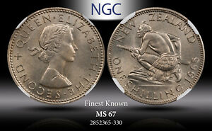 1965 NEW ZEALAND 1 SHILLING NGC MS67 FINEST KNOWN WORLDWIDE
