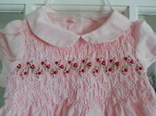 Vintage Girls JANIE AND JACK Smocked Cotton 2pc Pink Dress 6-12 Months