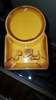 Rare Brown Vintage Cigarette Cigar Ashtray Round with Dice Cards Chips Japan?