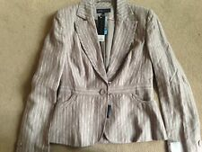 BNWT NEXT Taupe Brown Linen Pinstripe Jacket Size 12 RRP £45