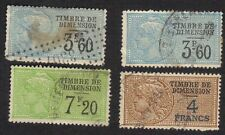 France 1924-33 Dimension Revenues Timbre Fisical Dimension Oblitere De Lot Of 4