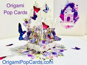 Origami Pop Cards Hummingbird Bird Cage 3D Pop Up Greeting Card Love Engagement