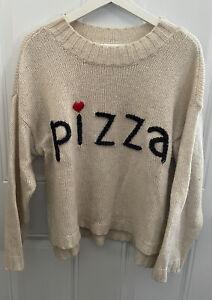 WILDFOX Couture Pizza Embroidered Cream Sweater Size L Original $132 🍕