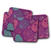 4 Set - Purple Sugar Skulls Coaster - Girls Skull Calavera Mum Cool Gift #14193