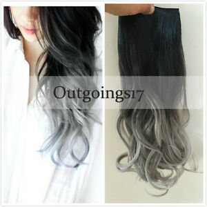 Ombre Human Hair Extensions Natural Black to Silver Grey wavy Clip in REMY
