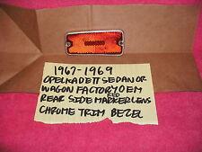 1967-1969 OPEL KADETT COUPE OR WAGON OEM REAR RED SIDE MARKER LENS CHROME BEZEL
