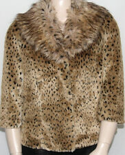NEW INC International Concepts Plus 0X Faux Fur Leopard Printed Jacket LEOPARD