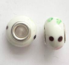 10 Lampwork Glass Beads 14x9mm Hole 5mm White For European Charm Bracelet