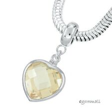 Sterling Silver Champagne CZ Heart Charm Stopper Fit European Bracelet #94248