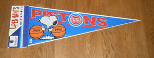 1989 & 1990 Detroit Pistons pennant Back to Back NBA Champs w/ Snoopy Finals