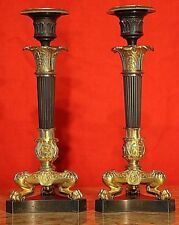 Antique French Empire gilt ormolu candlesticks 1820 original bronze Napoleon