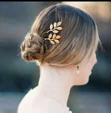 2x Golden Metal Leaves Hairpin gold hair clip