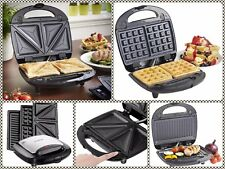 3 in 1 Non Stick Toasted Sandwich Maker Waffle Iron & Grill Panini Press Kitchen
