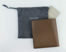 NWT TOM FORD Coffee Brown 100% Pebbled Leather Bifold Card Holder Wallet $450