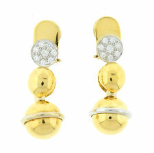 Baraka New 18K Two Tone Gold and Diamond Dangle Earrings OR32DI