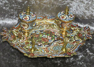 Champleve Enamel & Brass Inkwell French Empire c 1880