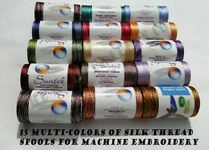 15 Variegated Spools Multi-Colors Art Silk Rayn Sewing Machine Threads BROTHER