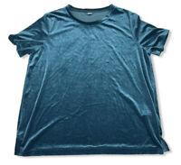 Old Navy Womens Turquoise Blouse Top Short Sleeve Shirt Velour Velvet Size XL