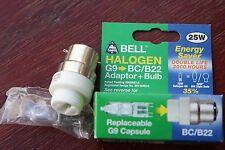 Bell 05309 BC/B22 a G9 convertitore adattatore di montaggio con Lampadina Capsula 25w 2000hr