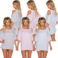 Oversize Shirt T-Shirt Tunika Marine Ringel Streifen Cut out Shoulder M 36 38 40