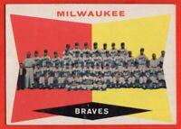 1960 Topps #151 Milwaukee Braves Team VG-VGEX+ WRINKLE MARKED Hank Aaron Mathews