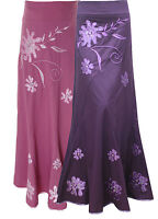 LOVELY LADIES PINK EMBROIDERED LONG MAXI SKIRT SIZE 10 12 14 16 18 20 22 39-42""