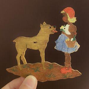 1930er Laubsägearbeit: Mini-Rotkäppchen mit Wolf 9x10cm SHABBY CHIC Figur Alt