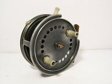 "Vintage Antique 4"" Alloy JW Young 10A LC Silex Fishing Reel - Retaining Well"