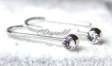 18k White Gold GP Silver Tiny Dangling Austrian Crystal Light Earrings