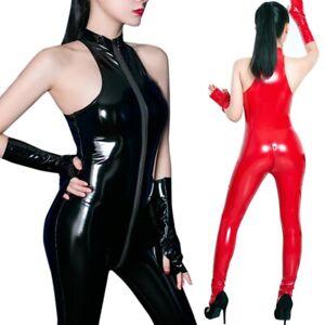 Women Sleeveless Wetlook Bodysuit Two-way Zipper Latex Leather Jumpsuit Clubwear