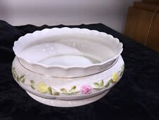 "2001 BELLEEK China 11th Green Mark CLASSIC ROSES 9 1/2"" Fruit Bowl Centerpiece"