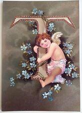 """*Vintage ANGEL ALPHABET LETTER """"T"""" Floral FOIL POSTCARD Clapsaddle FORGET-ME-NOT"""