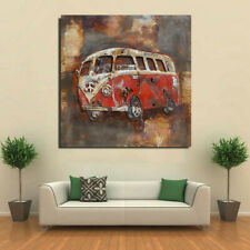 Collectible Collector Edition 3D Vintage Car Oil Painting on Metal Canvas Figure