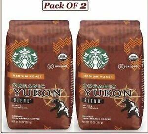 2 Starbucks Organic Yukon Blend Ground Medium Roast Coffee 10 oz ea Arabica 1/20
