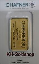 GOLDBARREN 31,1 GRAMM ( 1 UNZE ) VON C.HAFNER, IN OVP