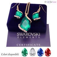 Parure donna oro Swarovski Elements originale G4Love cristalli goccia collana