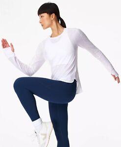 Sweaty Betty  Breeze Long Sleeve Running Top-White (XS/BNWOT)