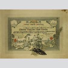 Berliner Gewerbe-Ausstellung von 1886. Urkunde Eintrag ins Goldene Buch Berlin