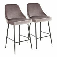 OPEN BOX Marcel Contemporary Counter Stool in Black Metal and Silver Velvet-S...