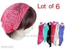 Lot Of 6 Fashion Stretch net Bandana Jersey Workout Yoga Hair Band Head Wrap