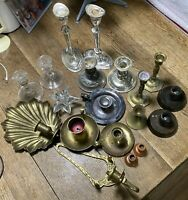 Vintage lot of 19 Candle Holders Brass Glass Silverplate and wood some pairs